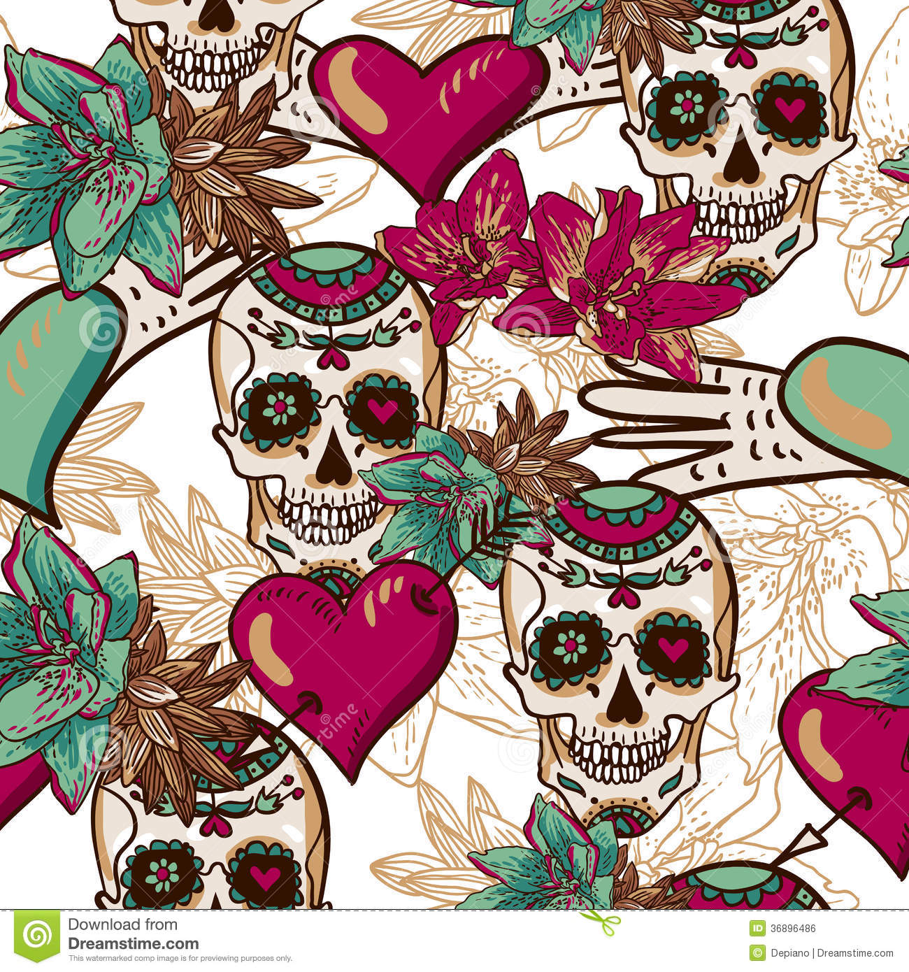 Tribal Pattern Wallpaper Hd Skull Hearts And Flowers Seamless Background Royalty Free