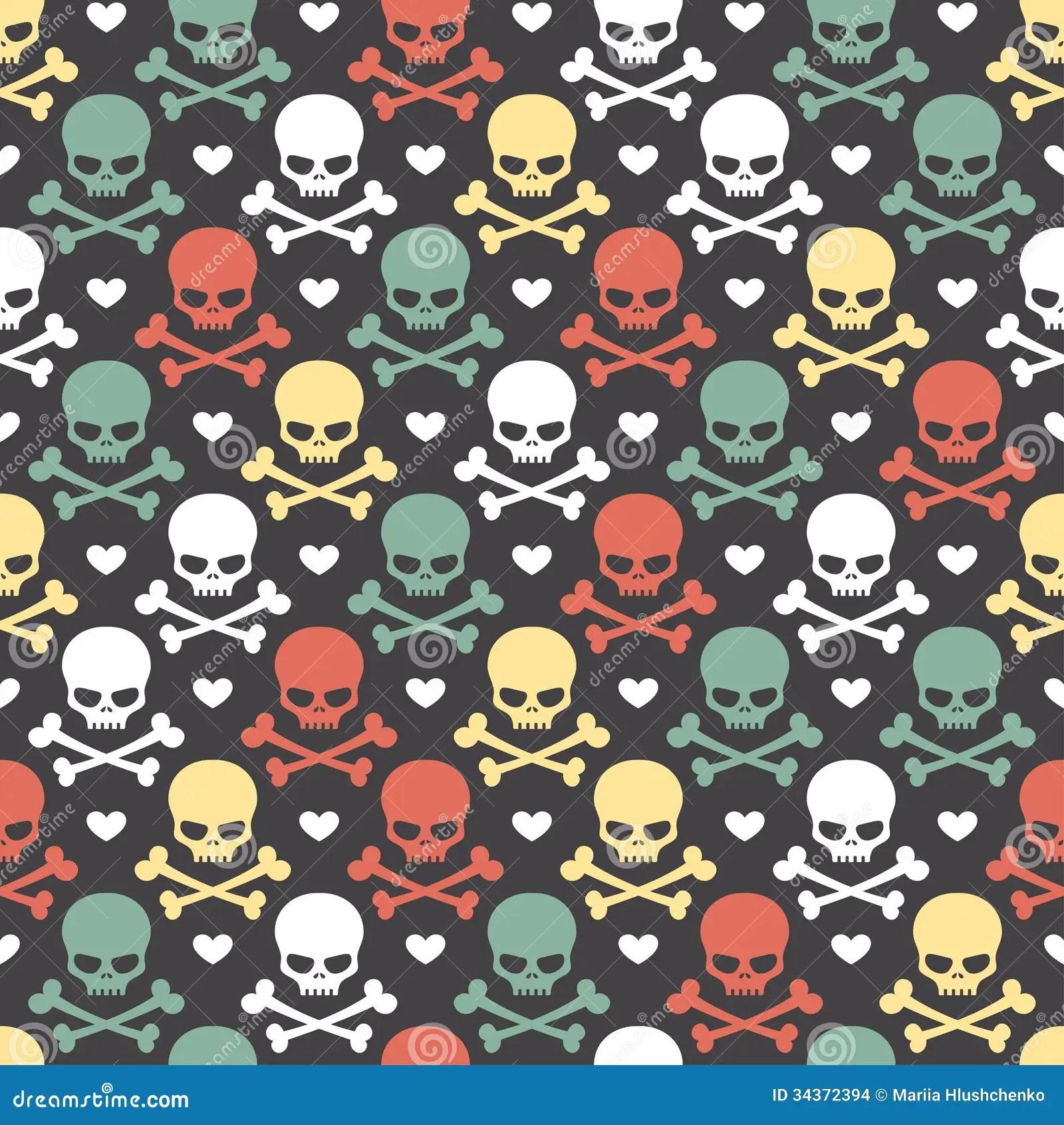 Skeleton Pattern Wallpaper Cute Skull Seamless Pattern Stock Vector Illustration Of Death