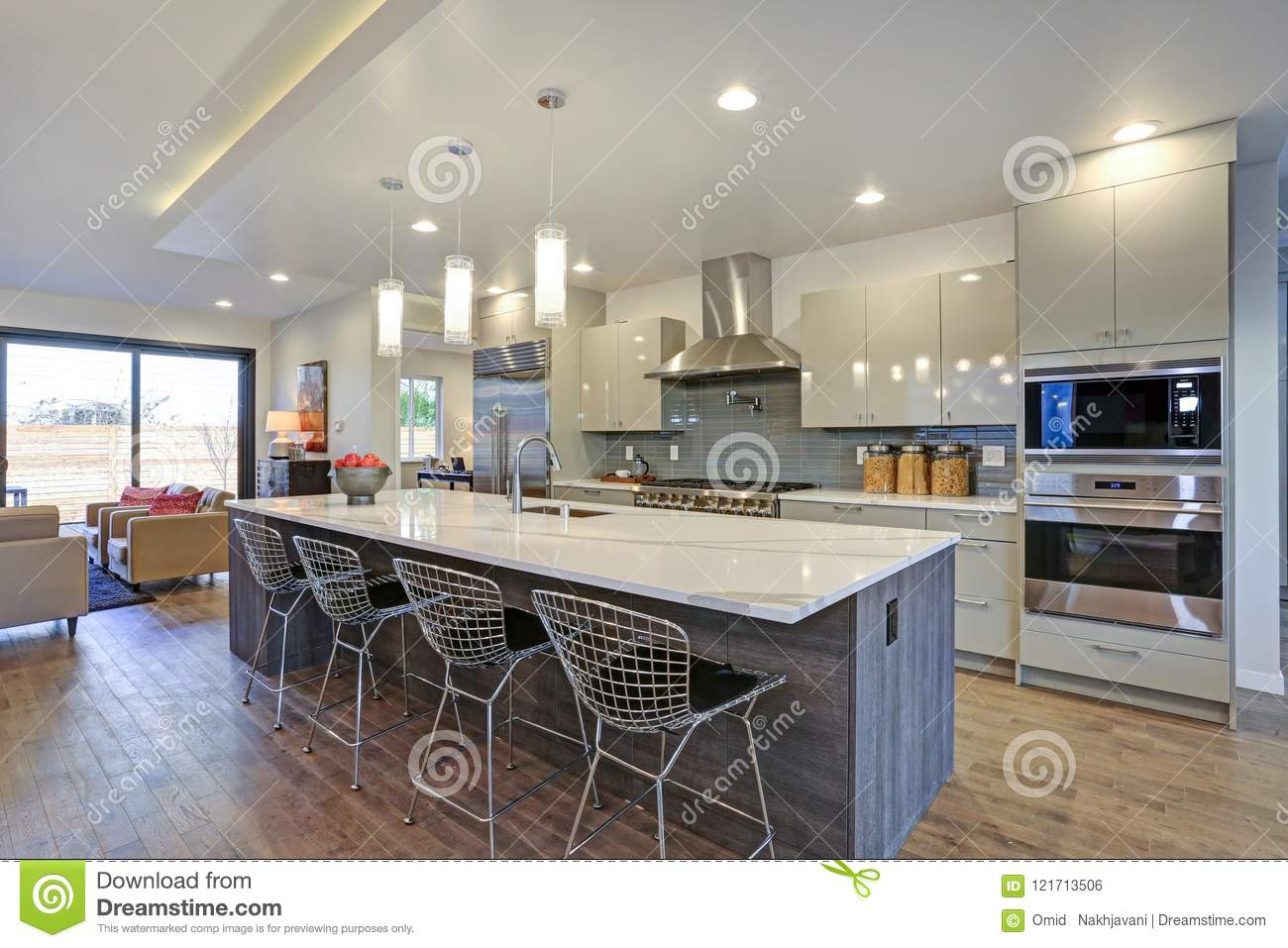 Long Kitchen Design Pictures Sleek Modern Kitchen Design With An Island Stock Photo Image Of