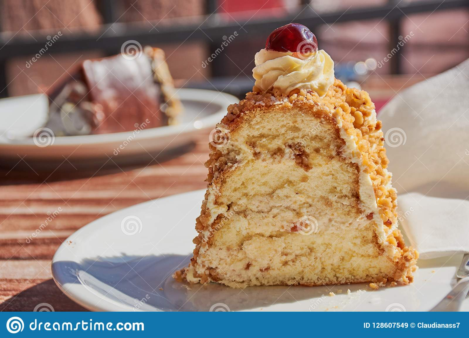 Frankfurter Kuchen Slice Of Frankfurter Kranz Outdoors On A Sunny Day Stock Image