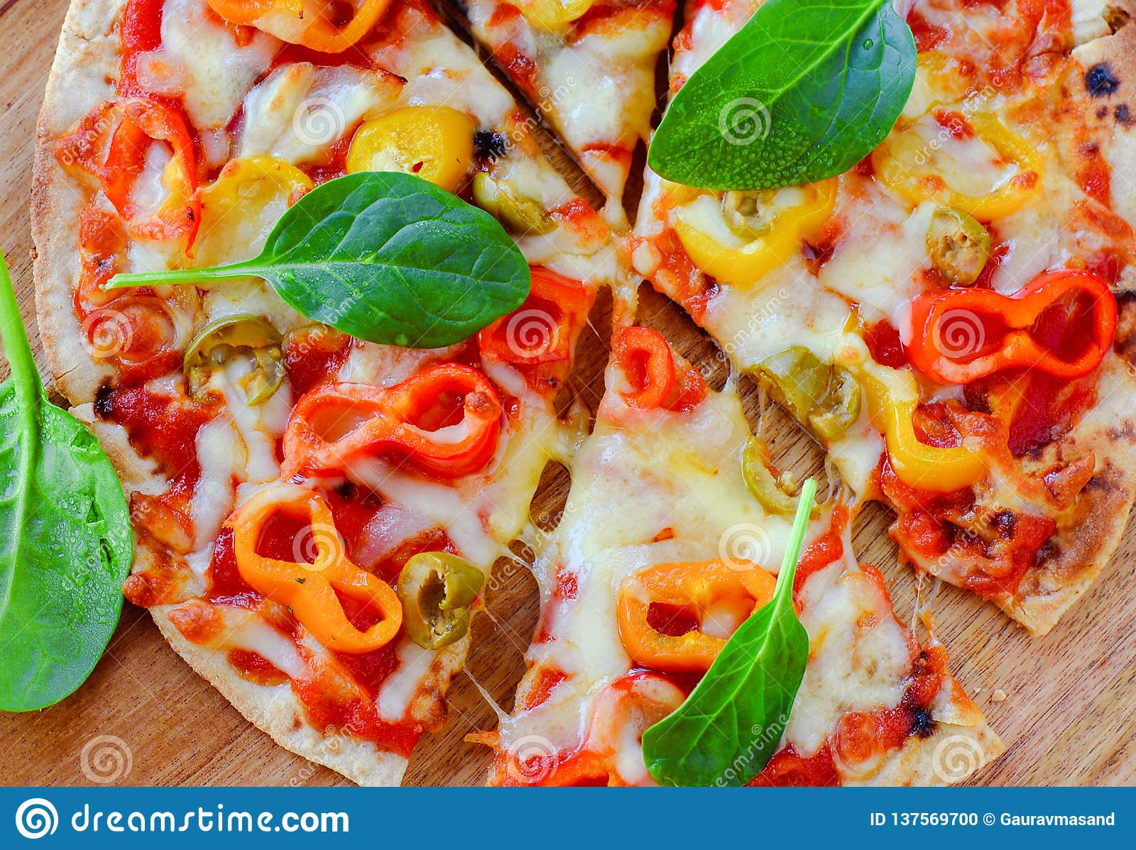 Italian Diner Slices Of Italian Vegetarian Pizza Stock Photo Image Of Fast