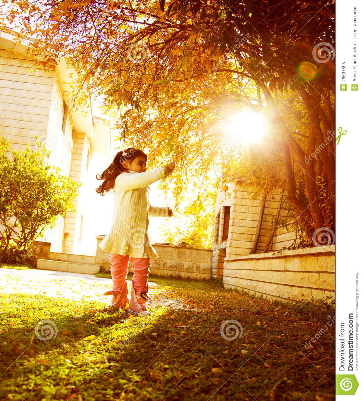 Snoopy Fall Wallpaper Small Girl In Sunny Autumn Day Royalty Free Stock Photo