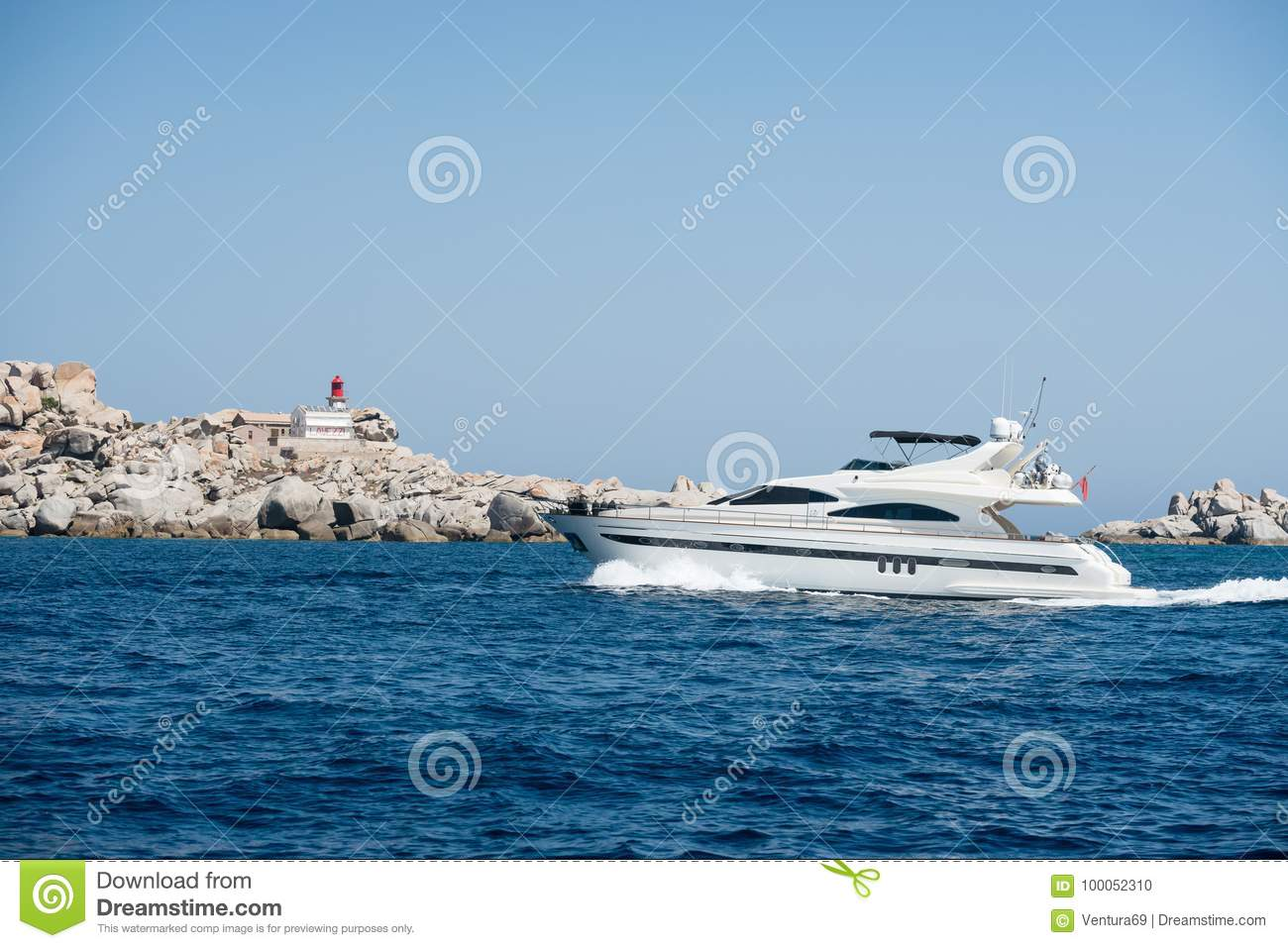 Lighthouse Background Small Motor Boat Near Lavezzi Island Stock Photo Image Of Cruise