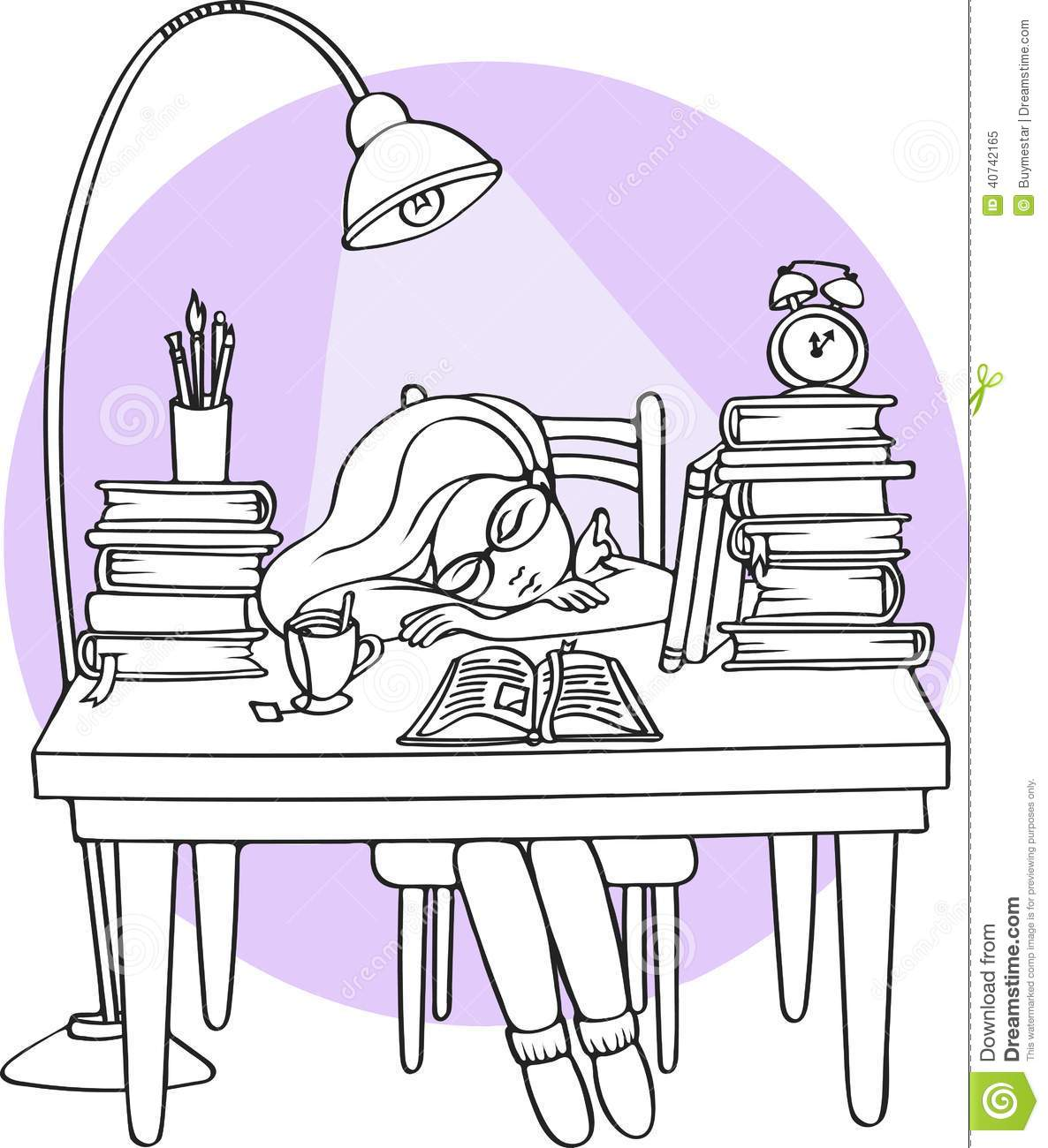 Night Table Clipart Smart Girl Studying At Night Sleeping On The Desk With
