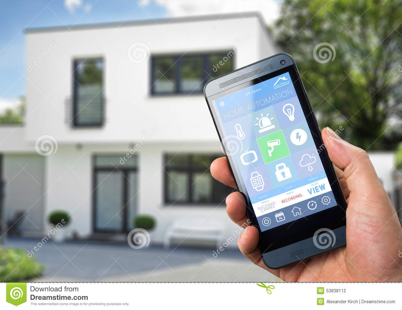 Smarthome App Smart Home Device Home Control Stock Illustration