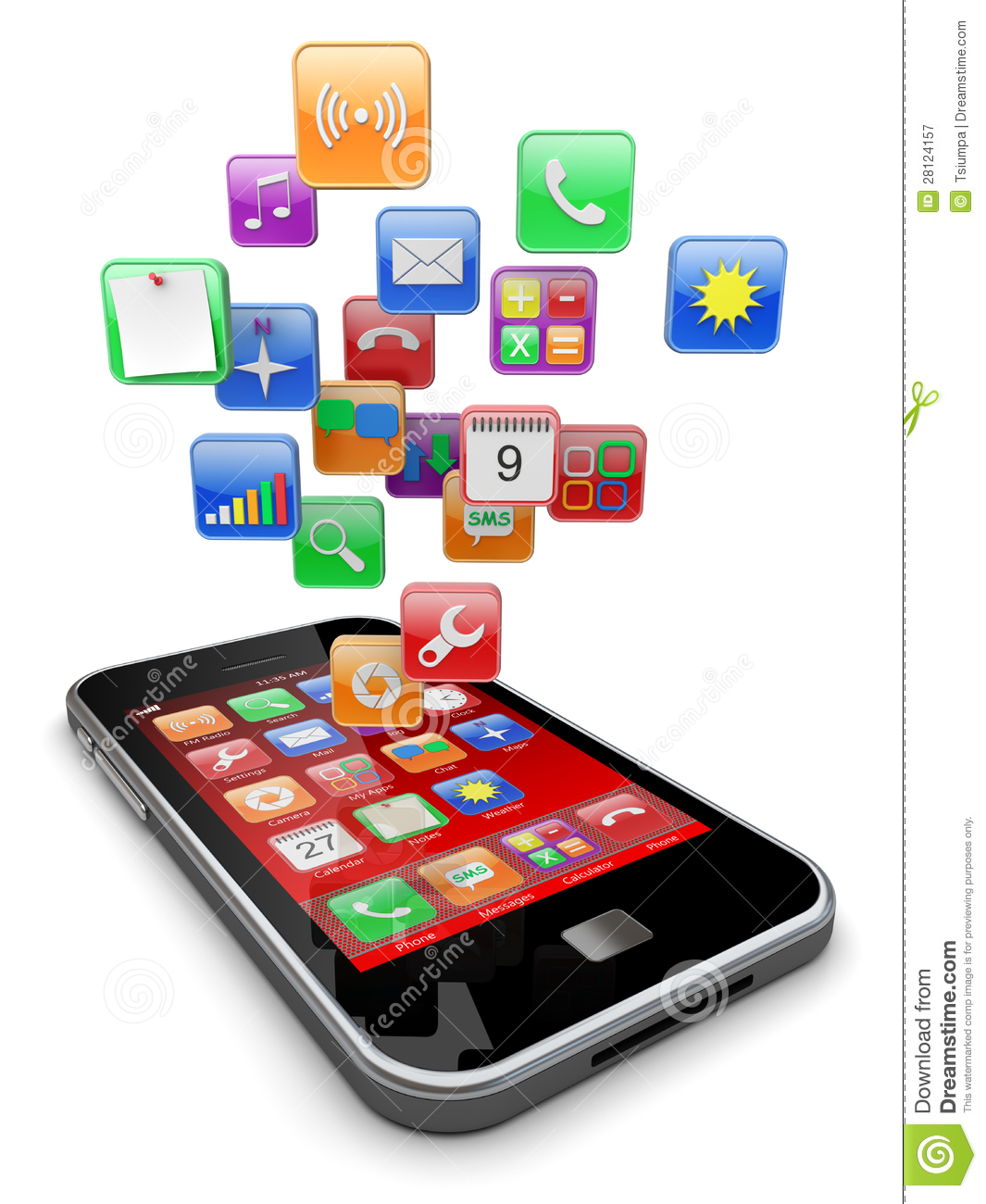 Application Dessin 3d Smartphone Apps Icons Stock Illustration Illustration Of
