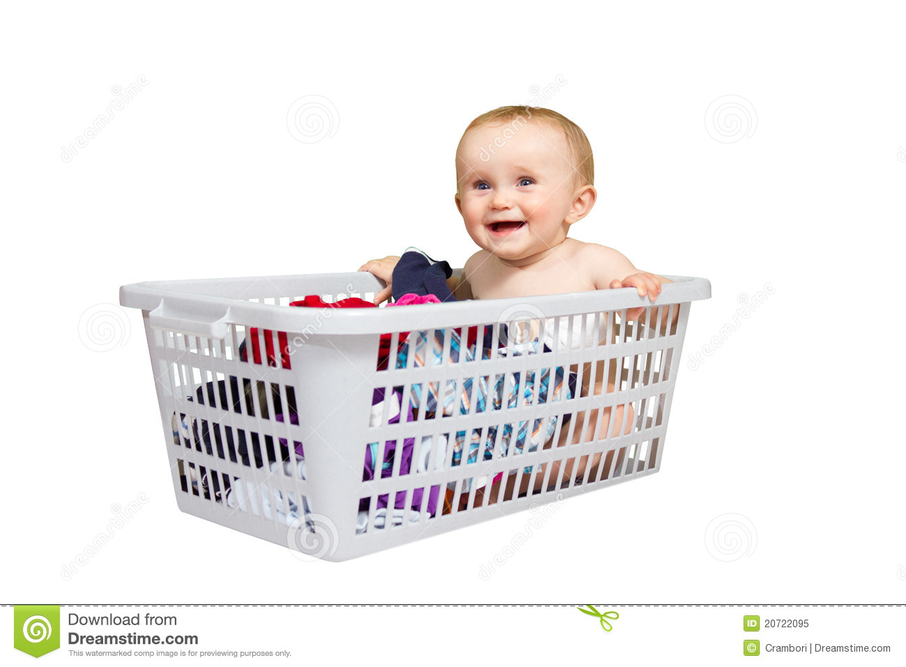 Baby Laundry Bin Smiling Baby In Clothes Basket Stock Image Image Of