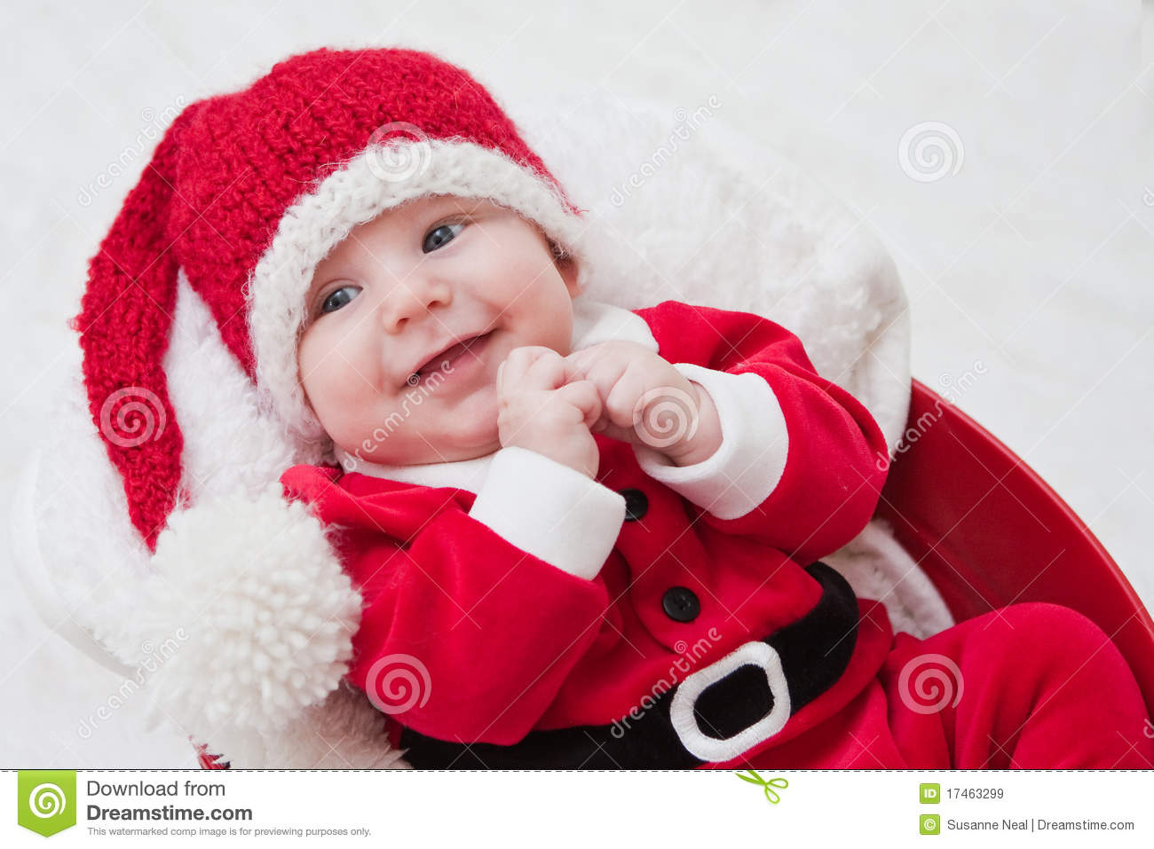 Santa Claus Girl Wallpaper Smiling Baby In Santa Cap And Outfit Royalty Free Stock