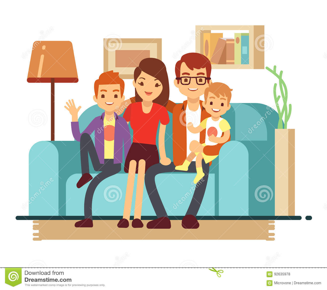 Wohnzimmer Cartoon Smiling Young Happy Family On Sofa Man Woman And Their
