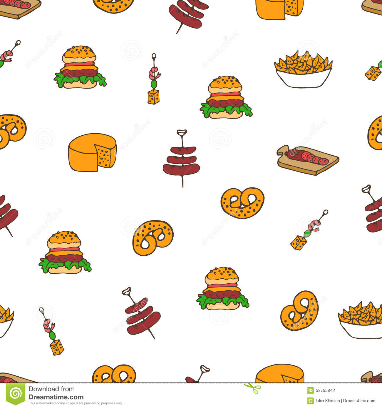 Cute Fruit Wallpaper Snacks Doodle Pattern Stock Vector Illustration Of Hand