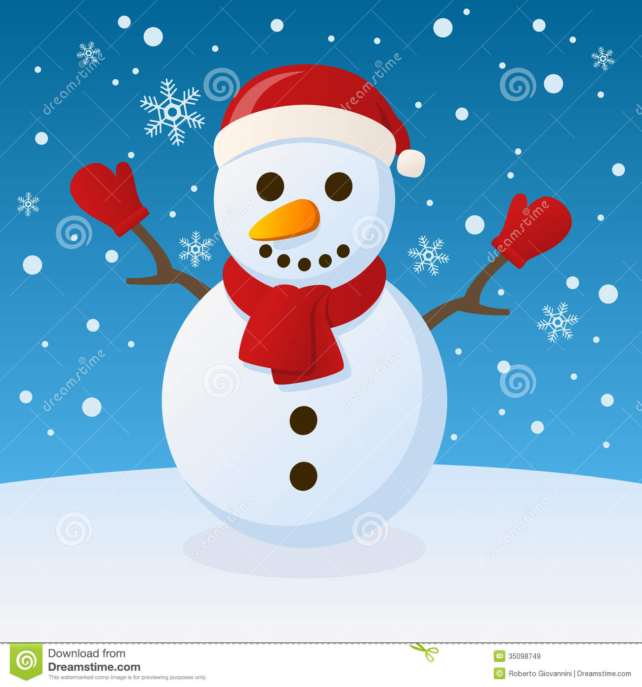 Free Animated Falling Snow Wallpaper Snowman Christmas On The Snow Stock Vector Illustration