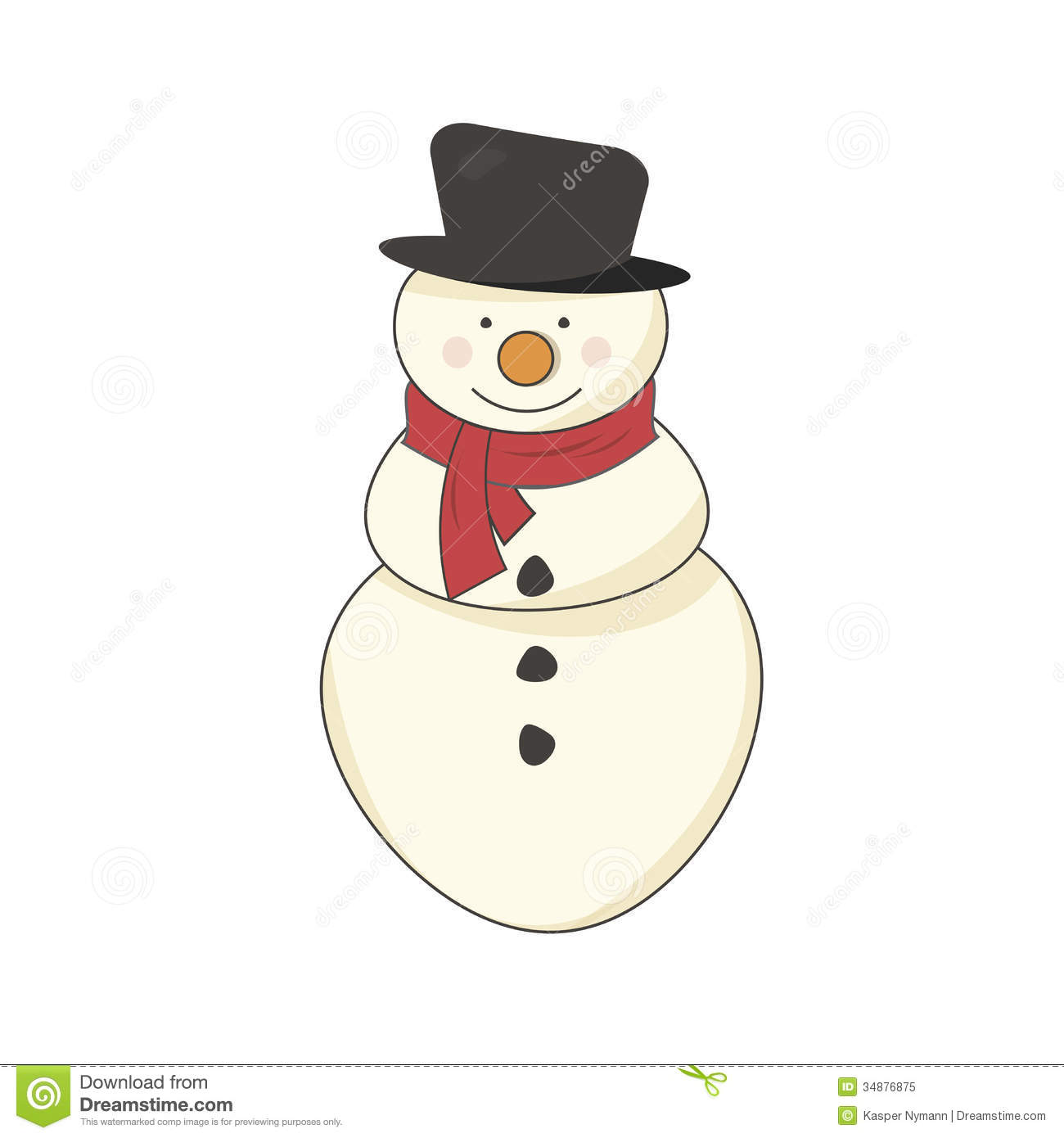 Illustration Decoration Snowman With A Scarf Royalty Free Stock Photo - Image