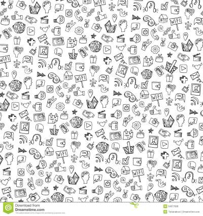 Social Media Icon Pattern,background.Doodle Stock Vector - Image: 54677606