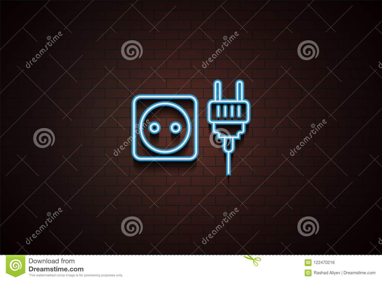Ux Plug Socket And Plug Icon In Neon Style One Of Appliances Collection