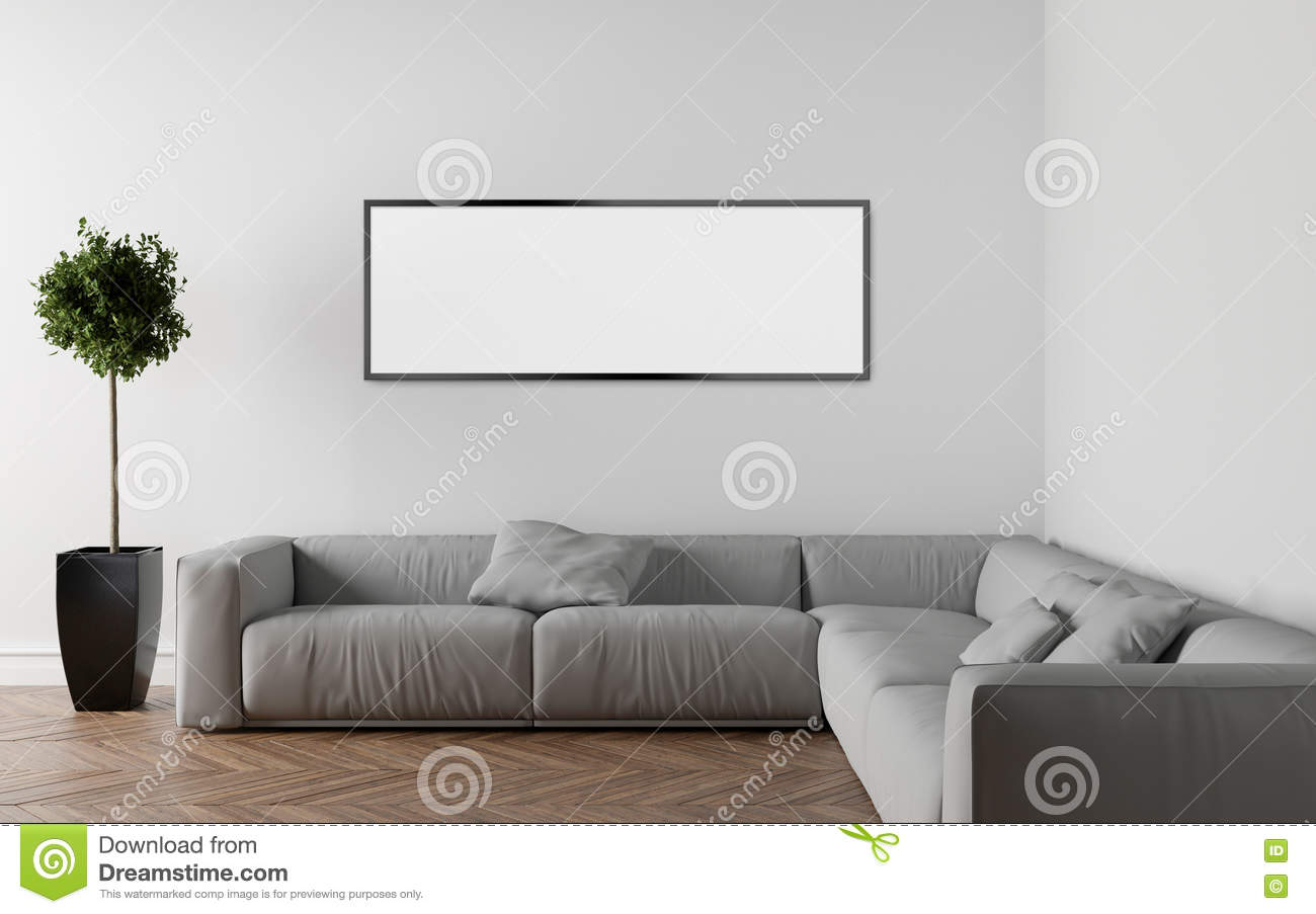 Boden Sofa Sofa In Empty Room Parquet On The Floor 3d Illustration Stock