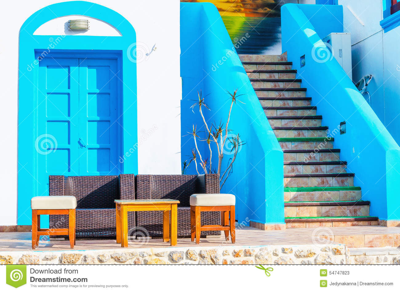 Sofa House Greece Sofa In Front Of Greek House Painted With Blue Stock Image Image