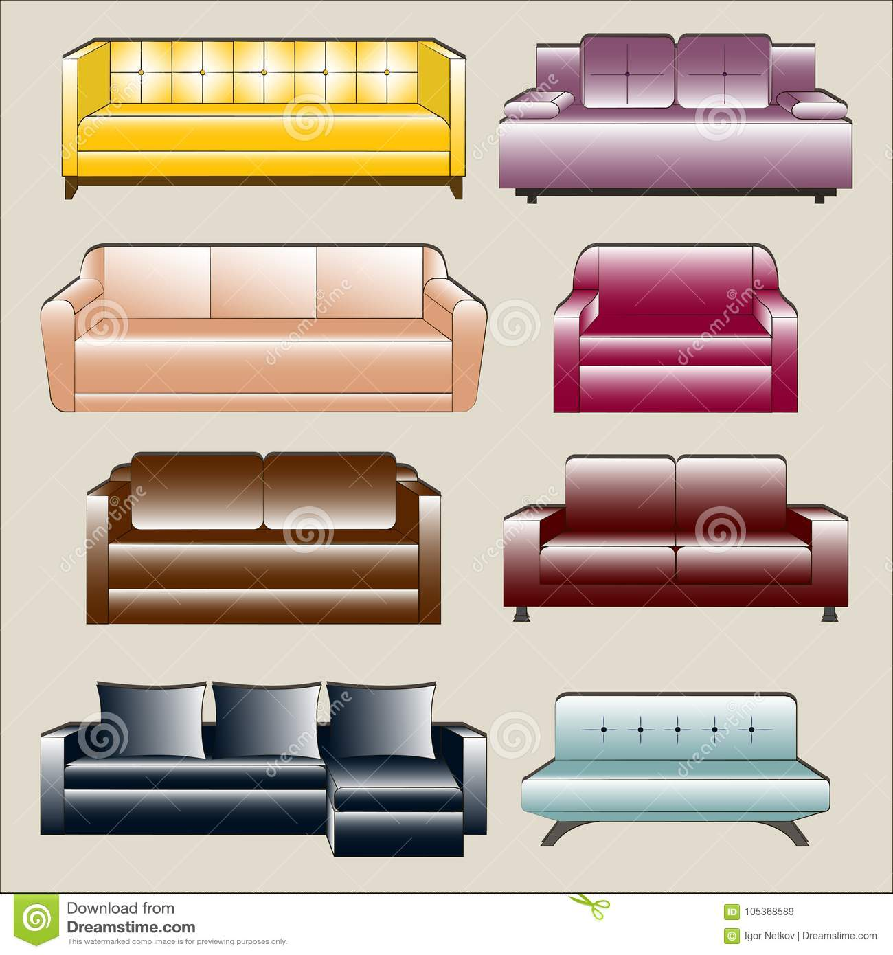 Sofa Set Vector Free Download Sofa Icon Set Stock Vector Illustration Of Living Couch 105368589