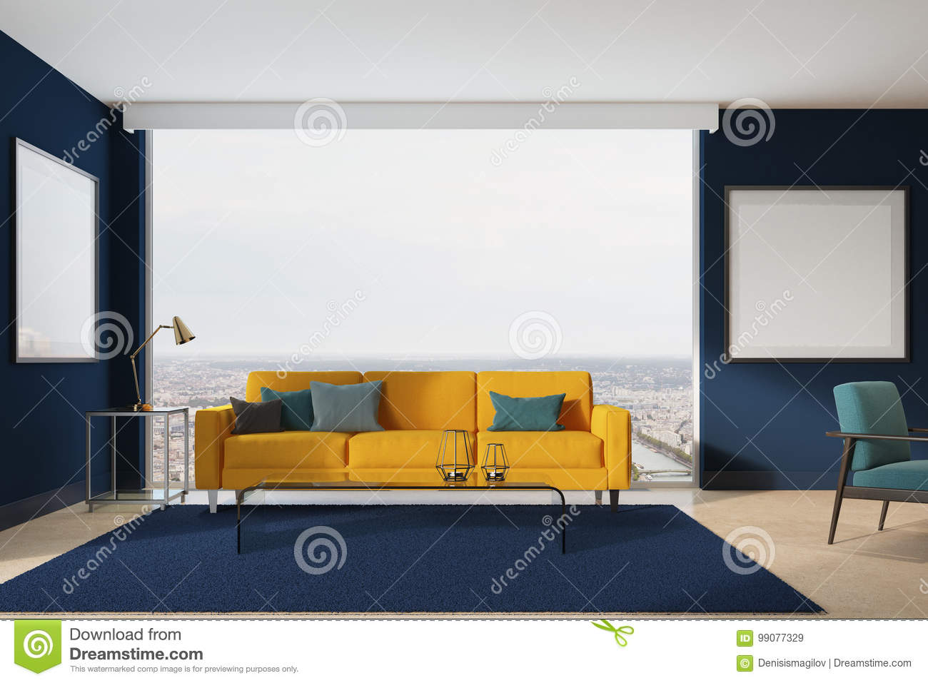Salon Jaune Et Bleu Sofa Jaune Salon Bleu Illustration Stock Illustration Du