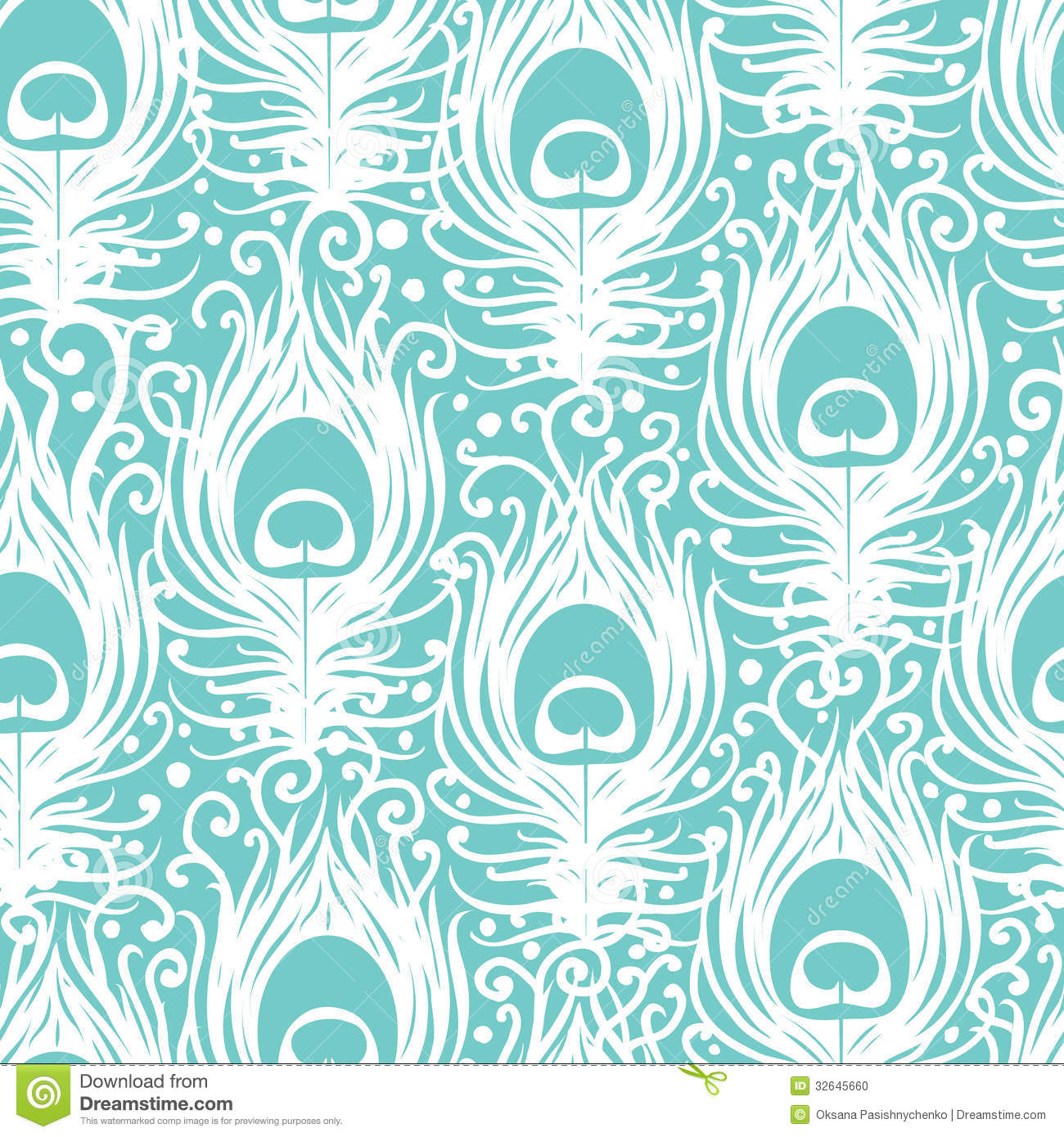 Animal Print Wallpaper Border Soft Peacock Feathers Vector Seamless Pattern Stock Vector