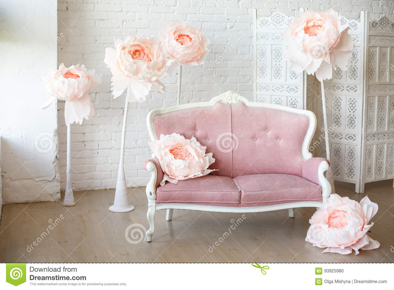 Big Sofa Rosa Soft Sofa With Pretty Pink Fabric Upholstery Stock Photo Image