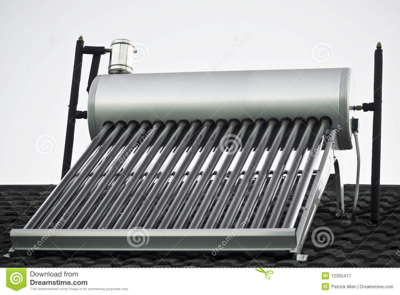 Solar Water Heater Evacuated Glass Tubes Stock Image