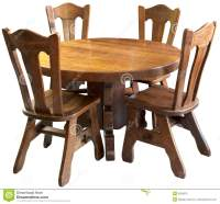 Solid Wood Kitchen Table Set, Isolated Stock Image - Image ...