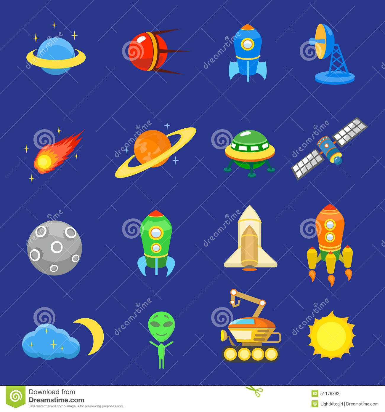 Solar System 3d Wallpaper Space Icons Set Of Rocket Galaxy Planet Ufo Sun Stock