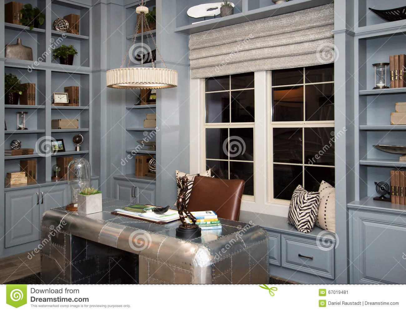 Home Office Cabinets Spacious Home Office Cabinets And Desk Stock Image Image Of