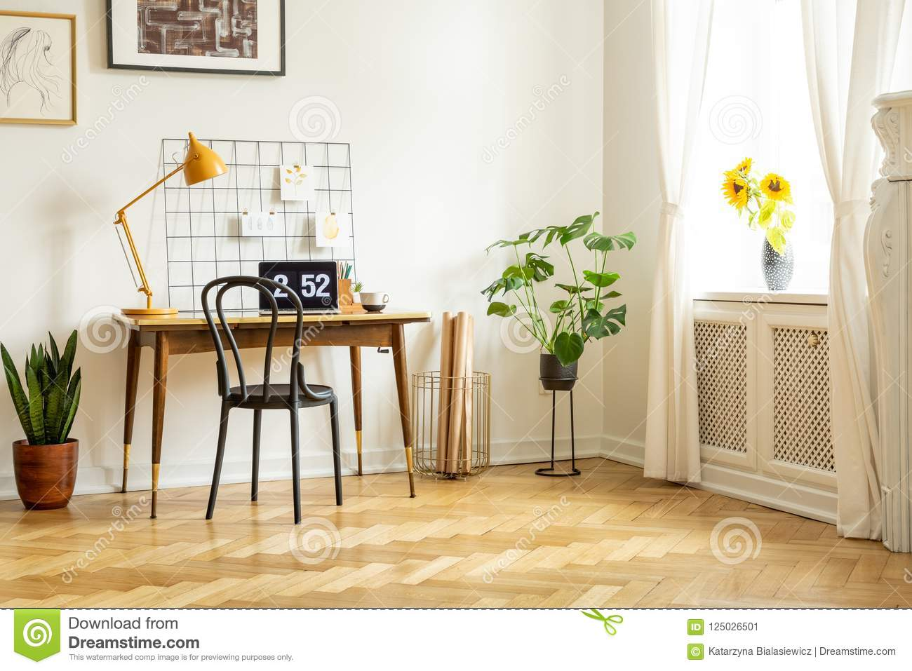 Lamp Plant Spacious Home Office Interior With A Desk Chair Yellow Lamp