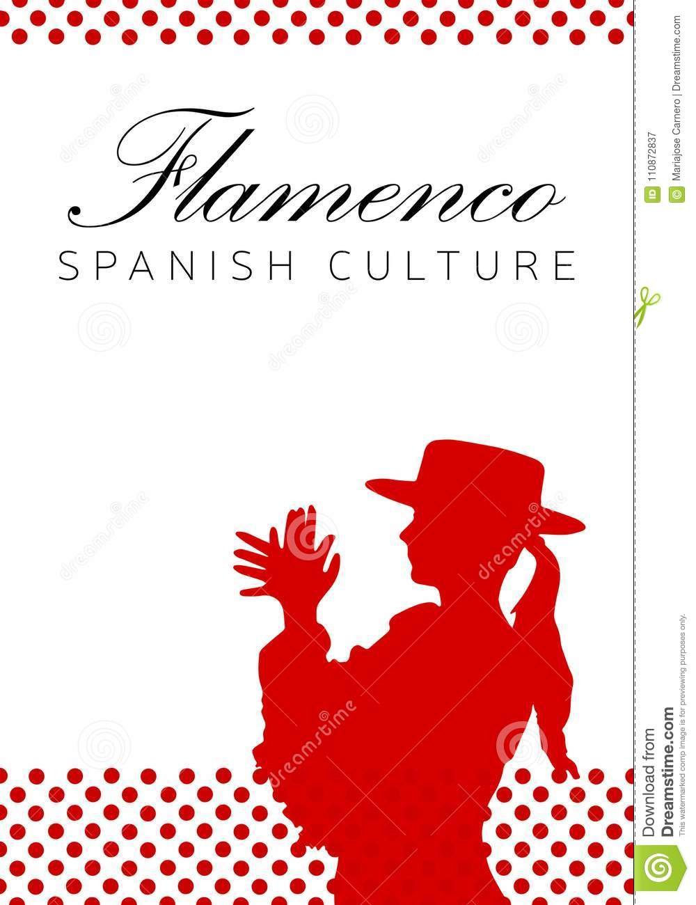 Poster In Spanish Spanish Culture Tradition Flamenco Dance Stock Vector