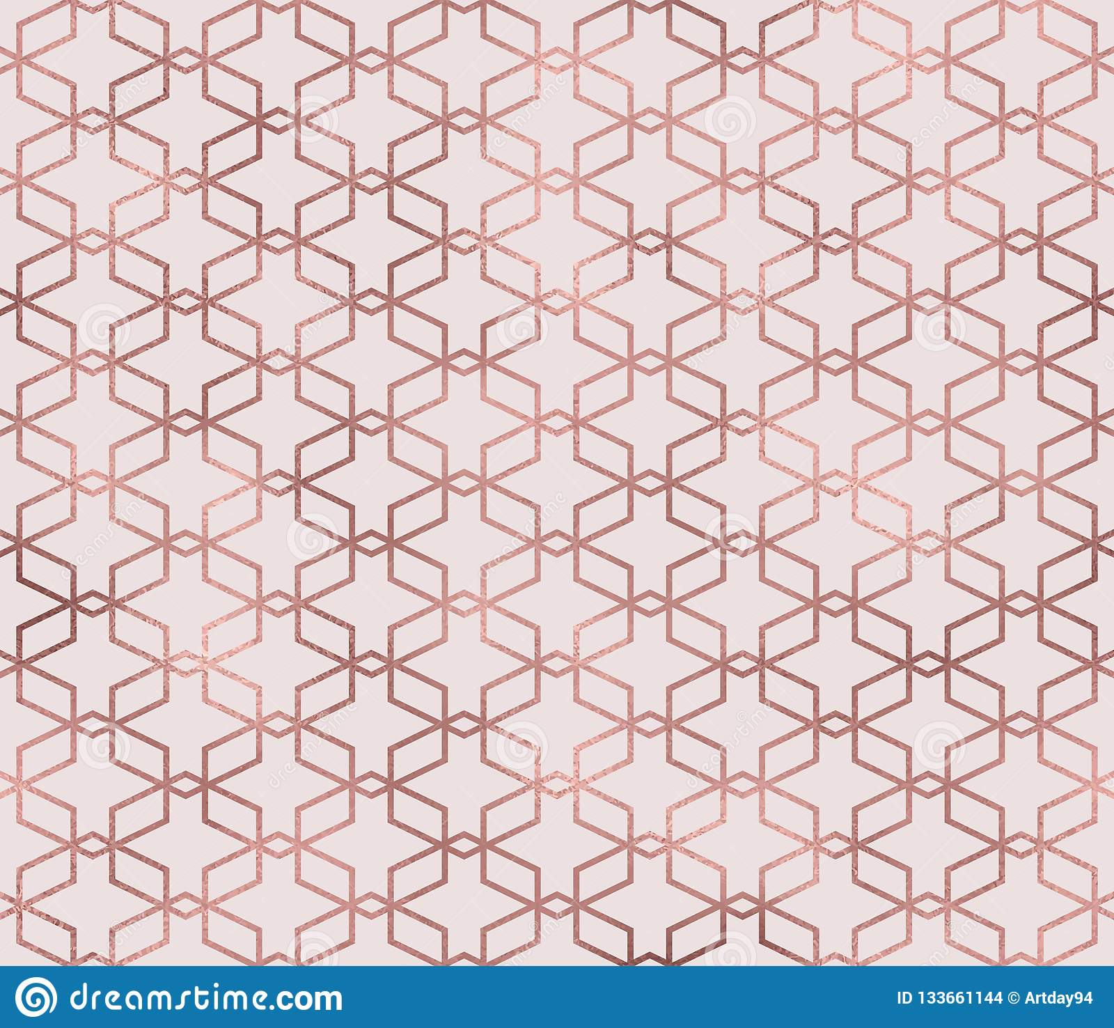 Chic Contemporary Modern Wallpaper Sparkle Geometric Seamless Pattern With Rose Gold Foil Texture