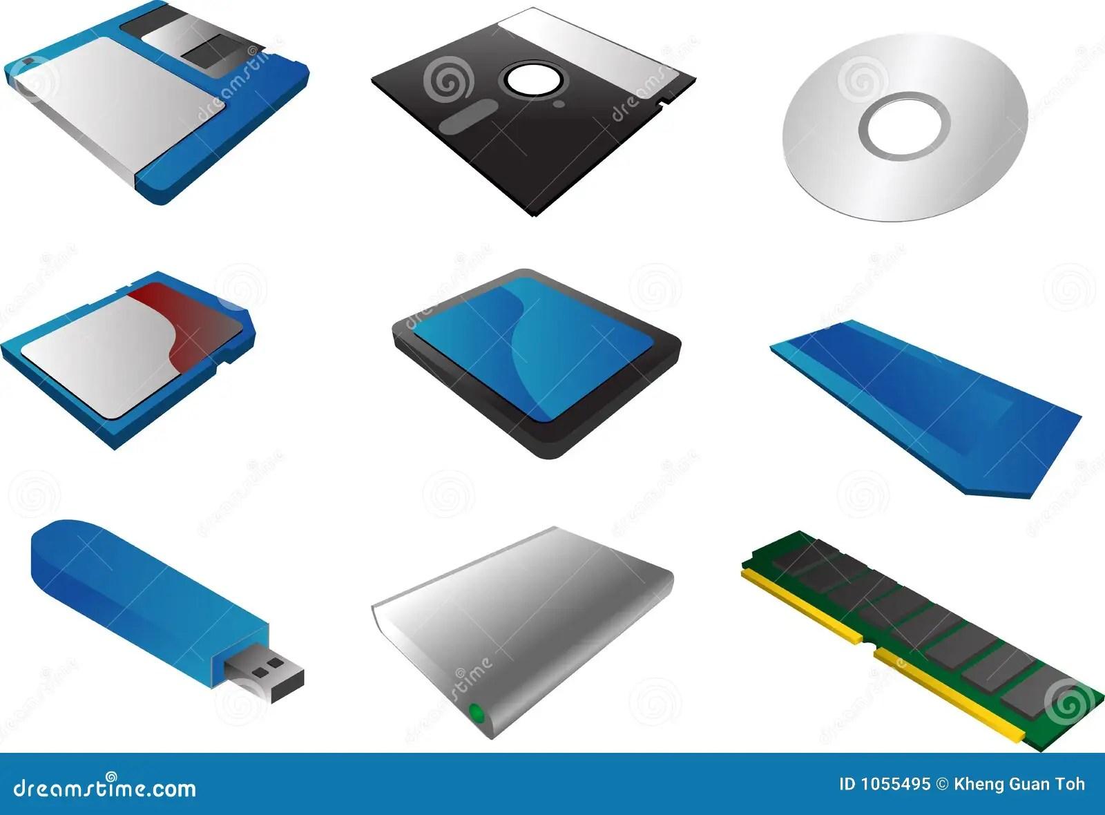 Speichermedien Clipart Vektor Abbildung Illustration Von