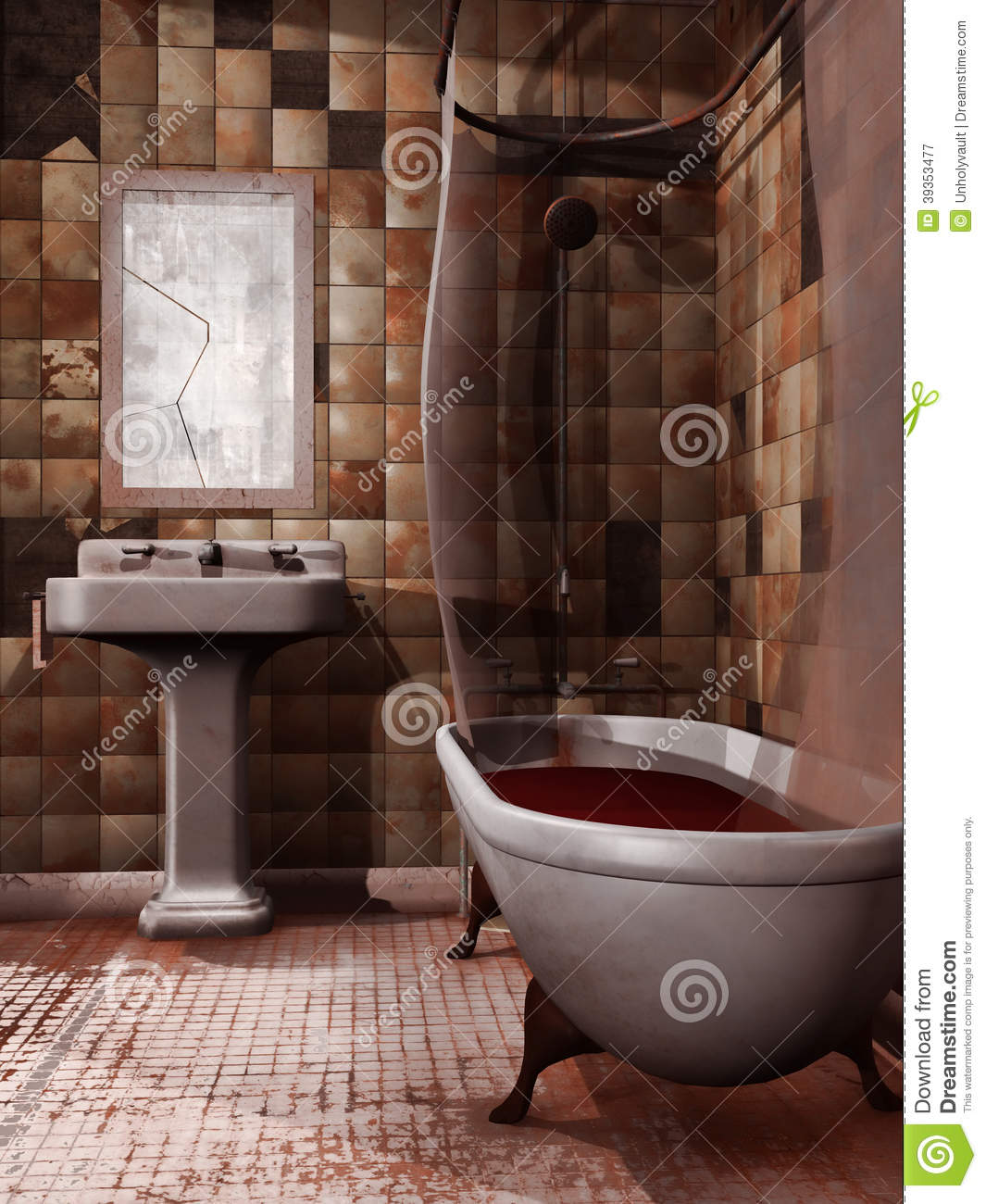 Broken Bathroom Mirror Spooky Bathroom Stock Illustration Image 39353477