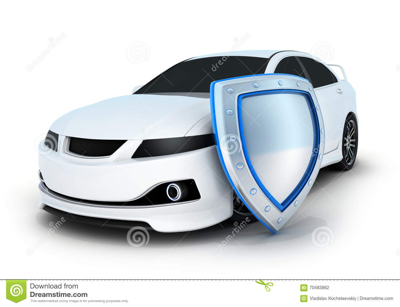 Car Shield Sport Car And Shield Stock Illustration - Image: 70483862