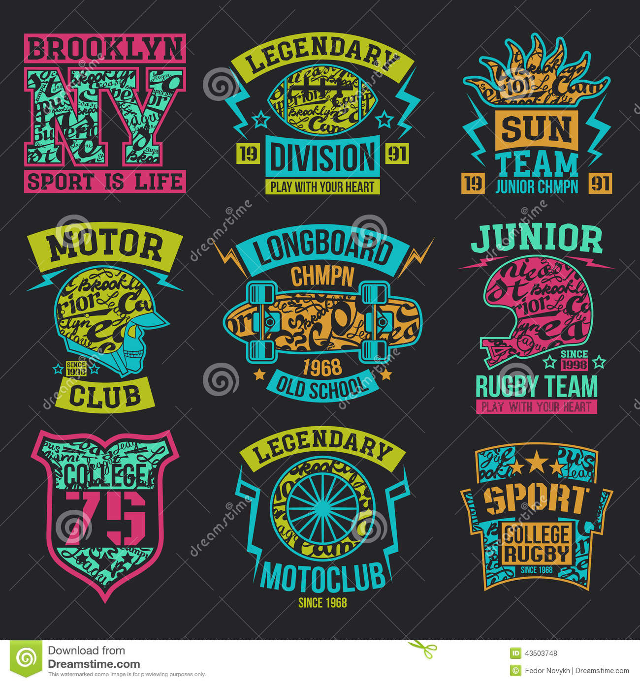 Sport emblems graphic design for t shirt royalty free stock photos