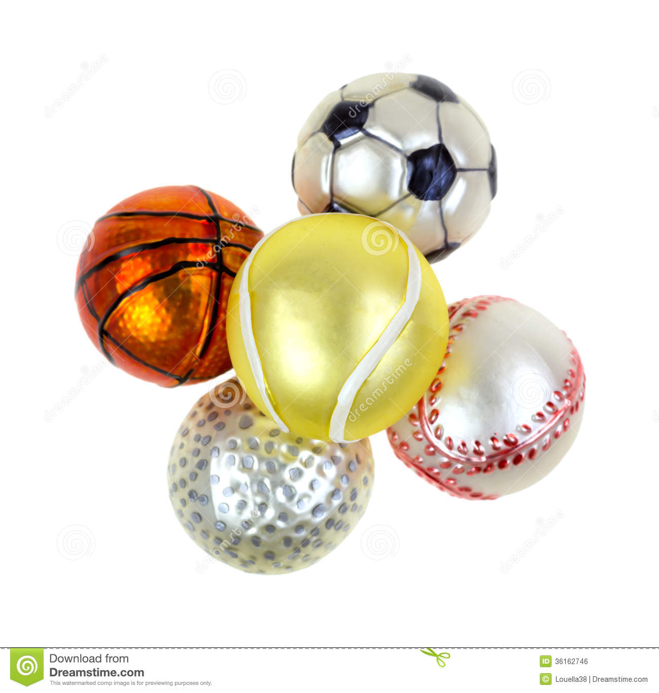 Sports christmas ornaments on white background royalty free stock image