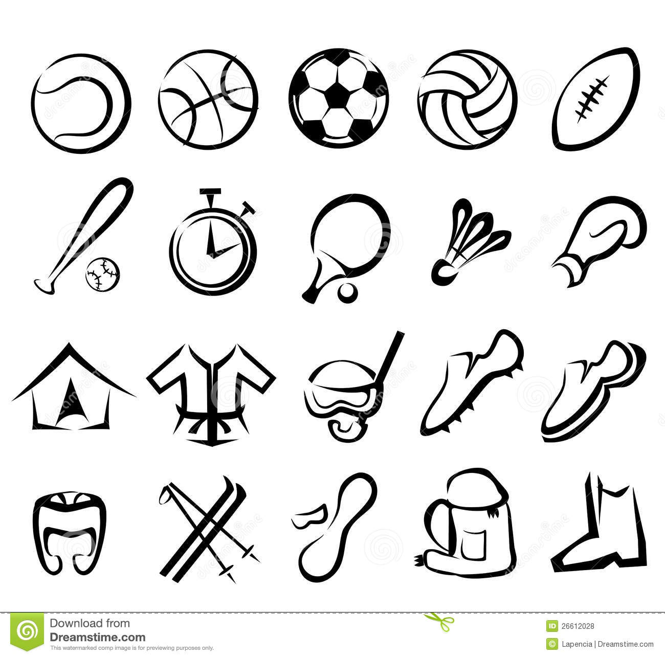 Sport Geräte Sports Equipment Icons Set Royalty Free Stock Photos
