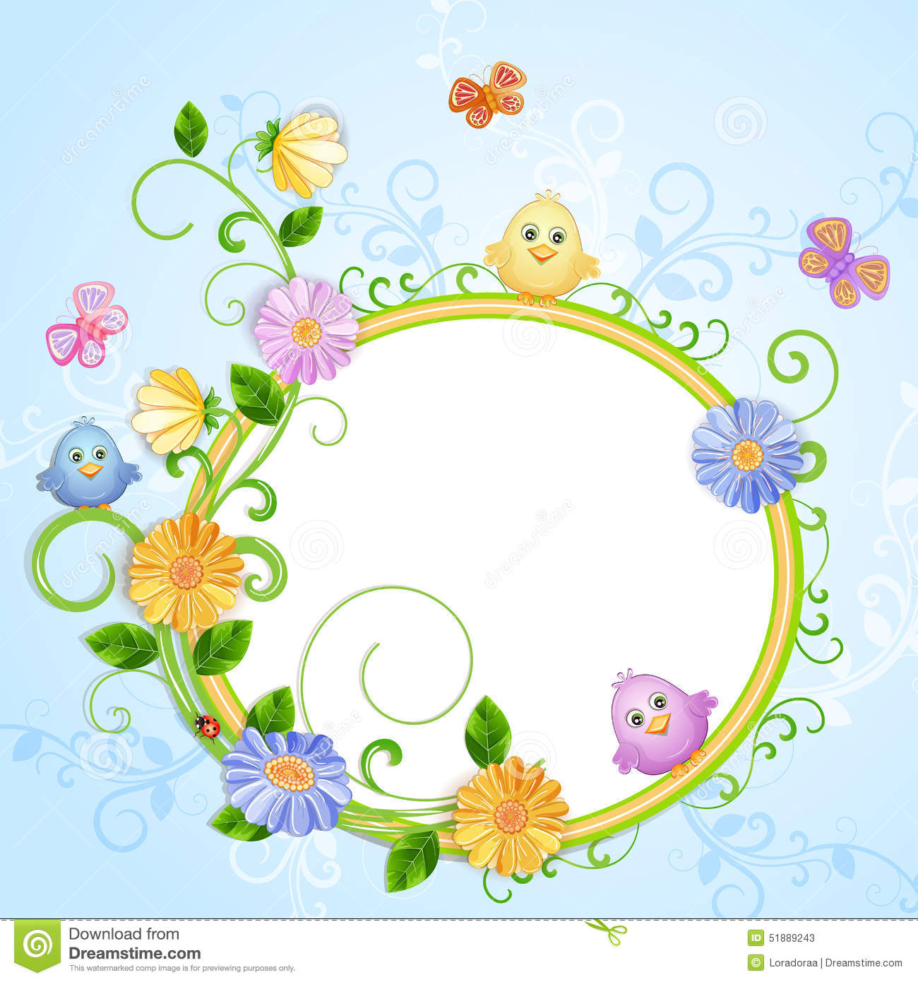 Beautiful Pictures Of Flowers And Butterflies Birds Spring Illustration With Beautiful Flowers Stock