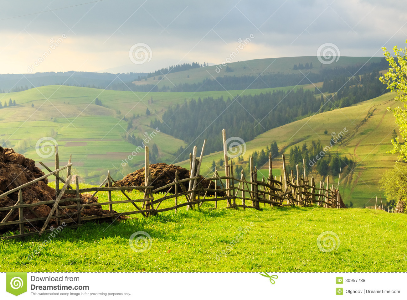 Wallpaper Fall Weather Spring Landscape In The Carpathian Mountains With Fence