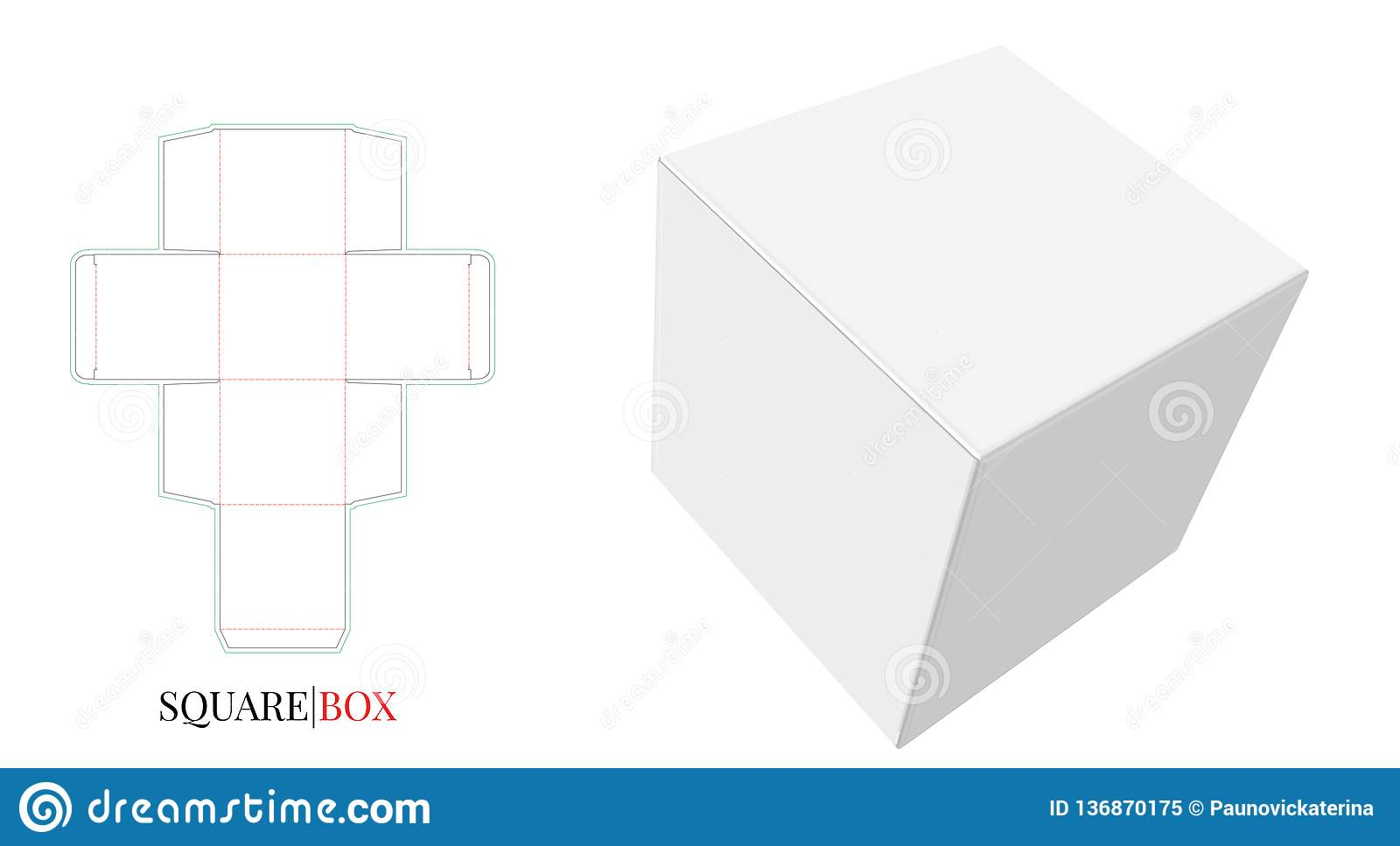 Square Box Square Box Template With Die Cut Lines Vector With Die Cut