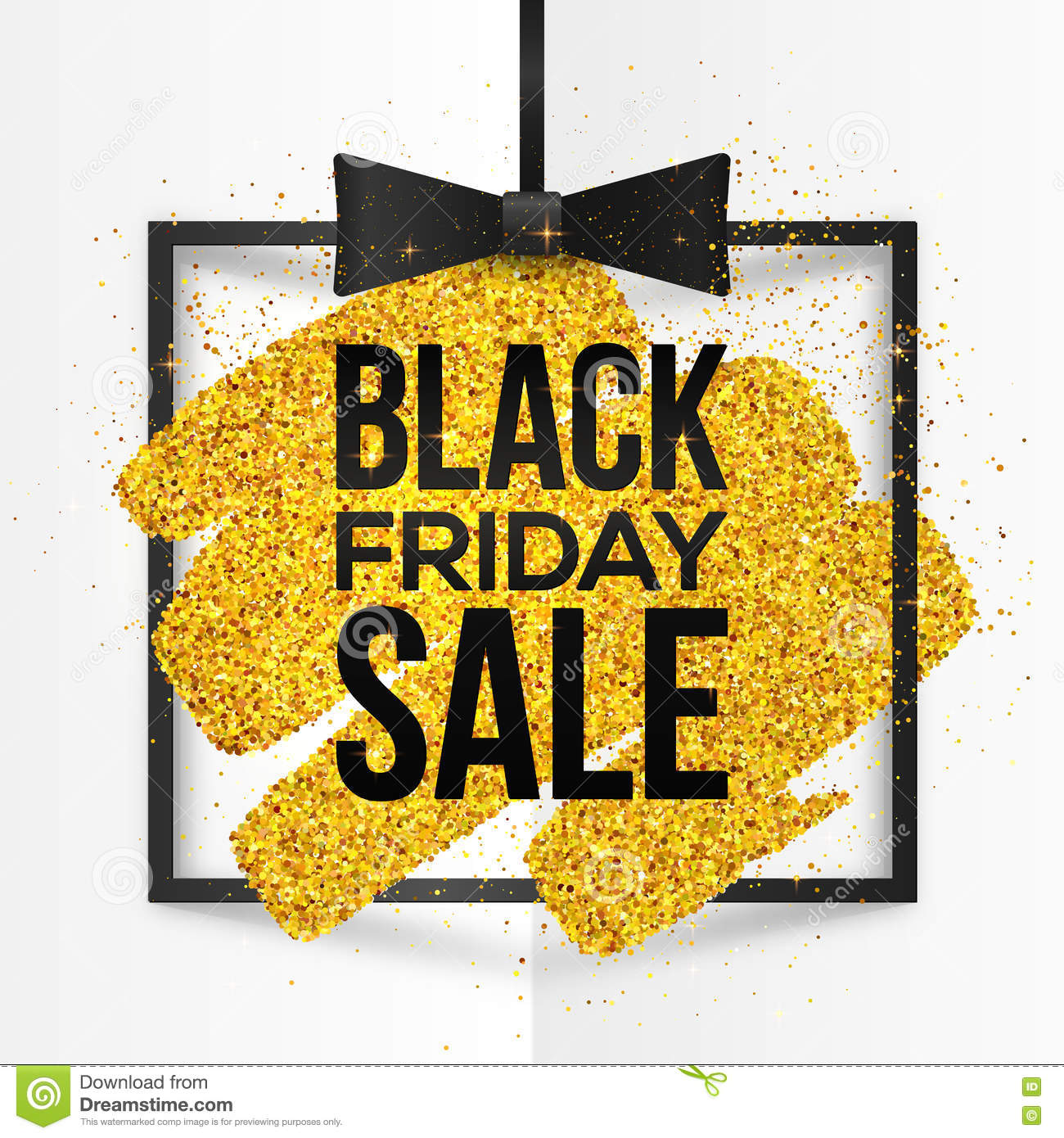 Friday Sale Square Vector Frame With Golden Glitter Brush Stroke And