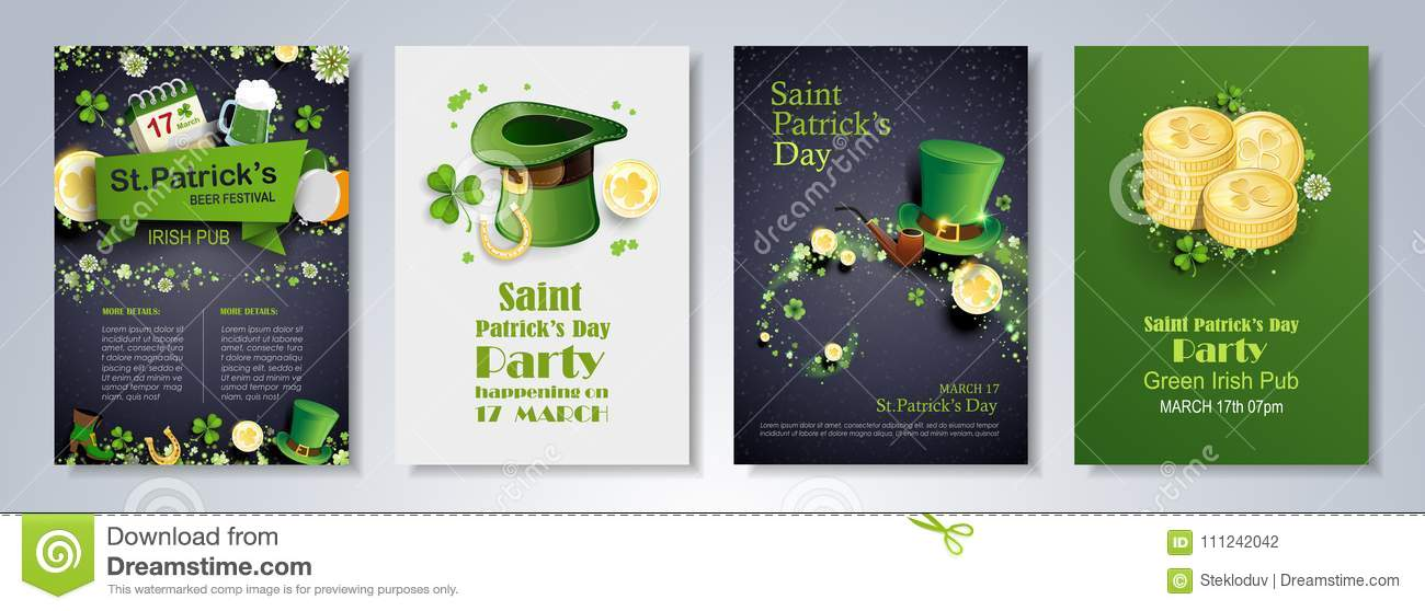 St Patrick`s Day Flyer Template Stock Vector - Illustration of