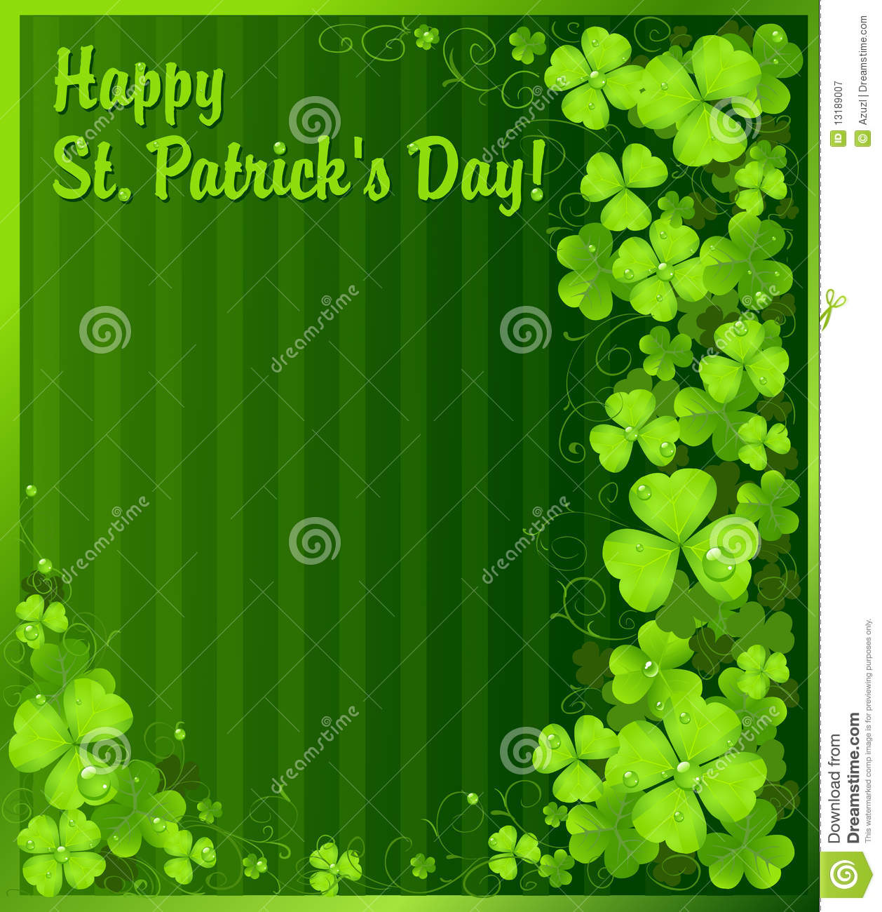 Illustration Decoration St. Patrick's Day Green Clover Background Stock Vector