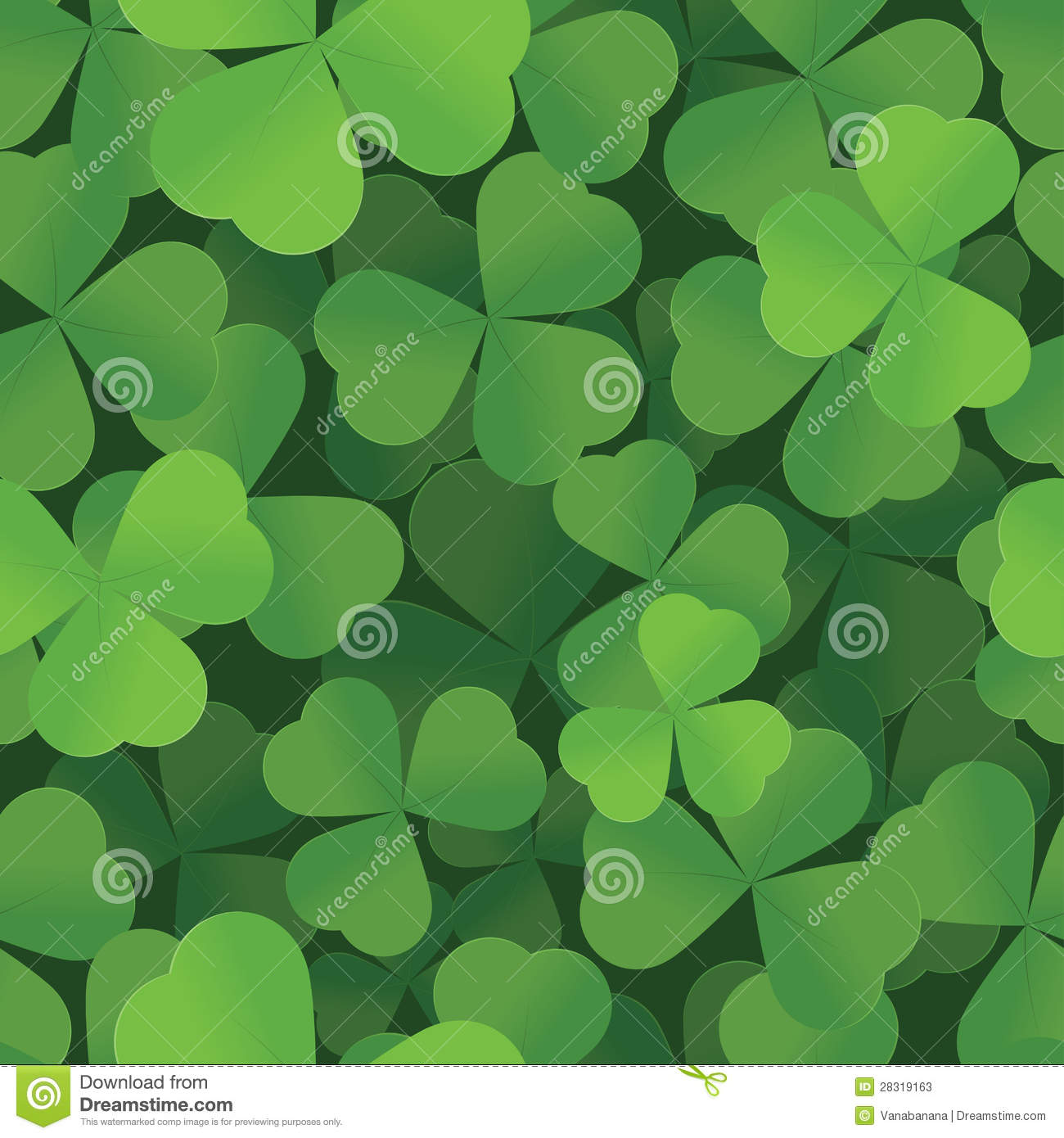 Garden Dreams St. Patricks Day Shamrock Seamless Background Stock Vector