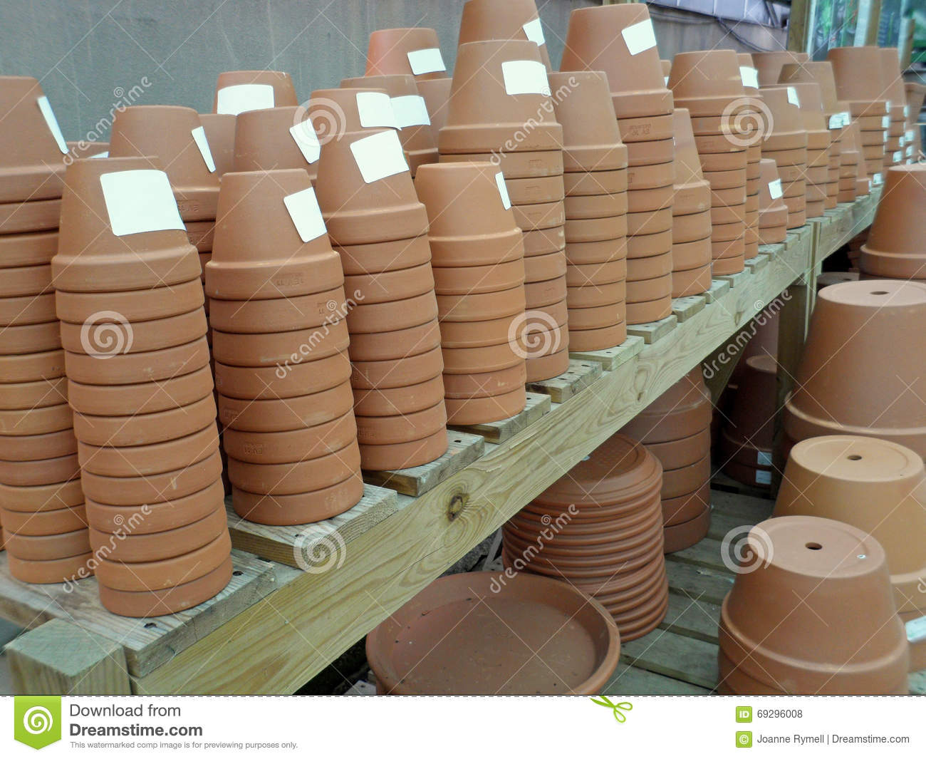 Plant Pot Sale Stacks Of Terracotta Flower Pots For Sale Stock Photo
