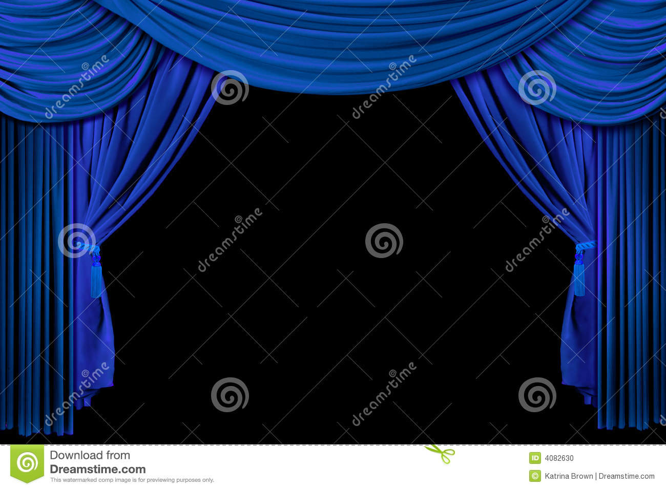 Black And Blue Curtains Stage Drape Curtains On Black Background Stock Illustration
