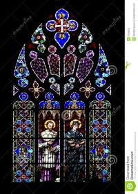 Stained Glass Church Window On Black Stock Image - Image ...