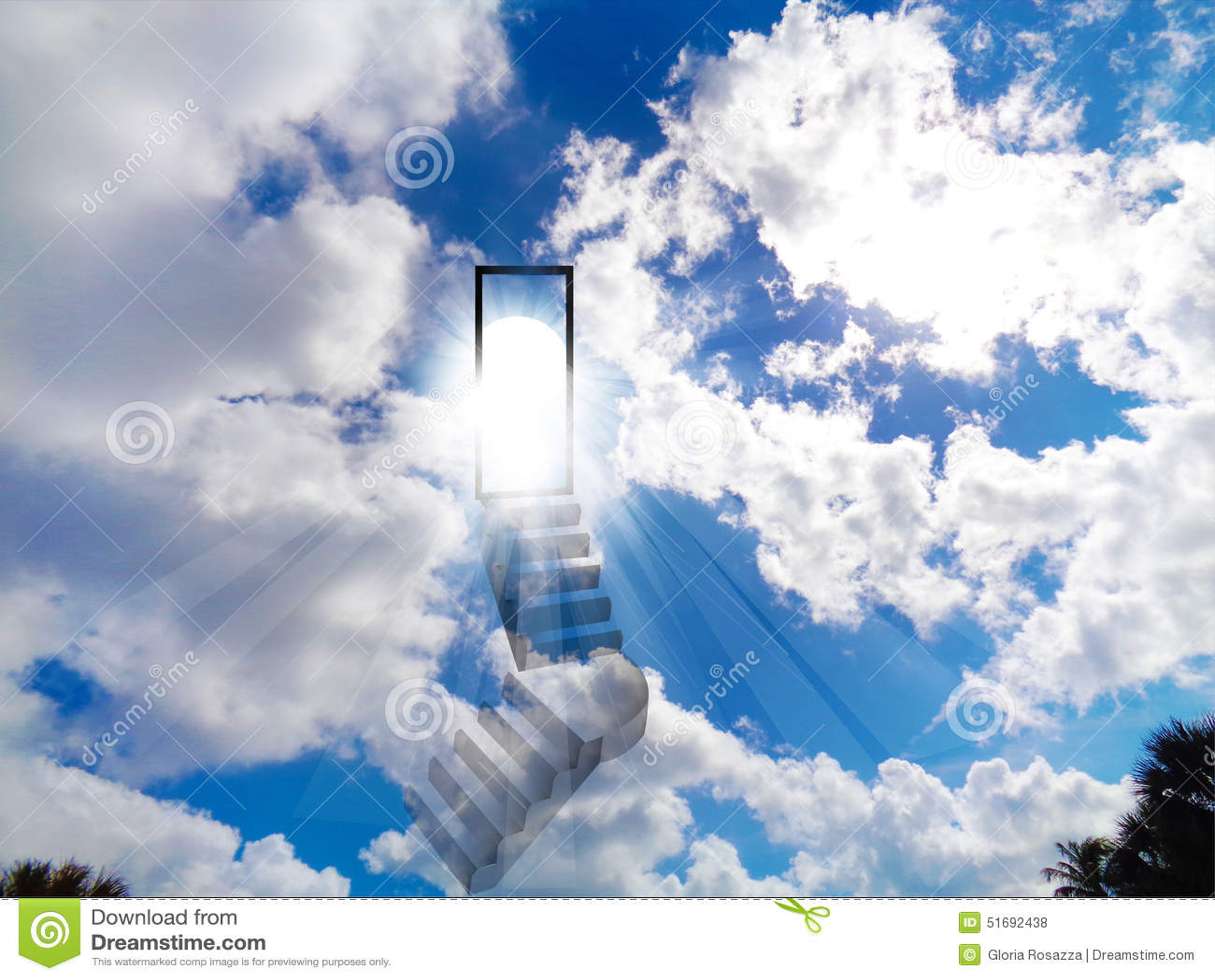 Jesus Christ 3d Wallpaper Download Stair To Heaven Blue Vivid Shiny Sky Stock Illustration