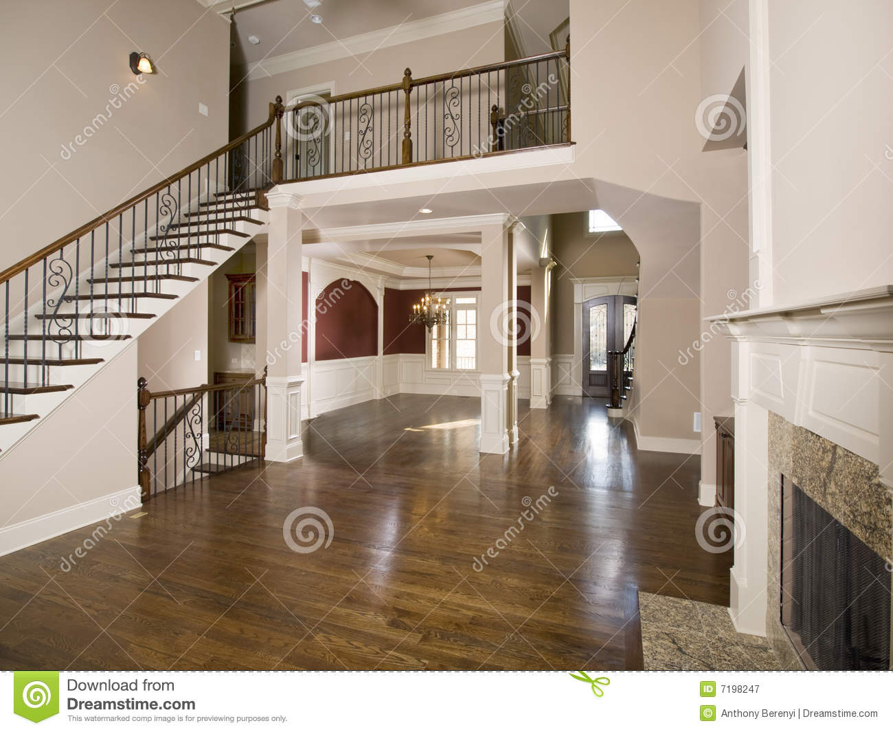 Opbergsysteem Keuken Staircase To Luxury Living Room Wide View Stock Image