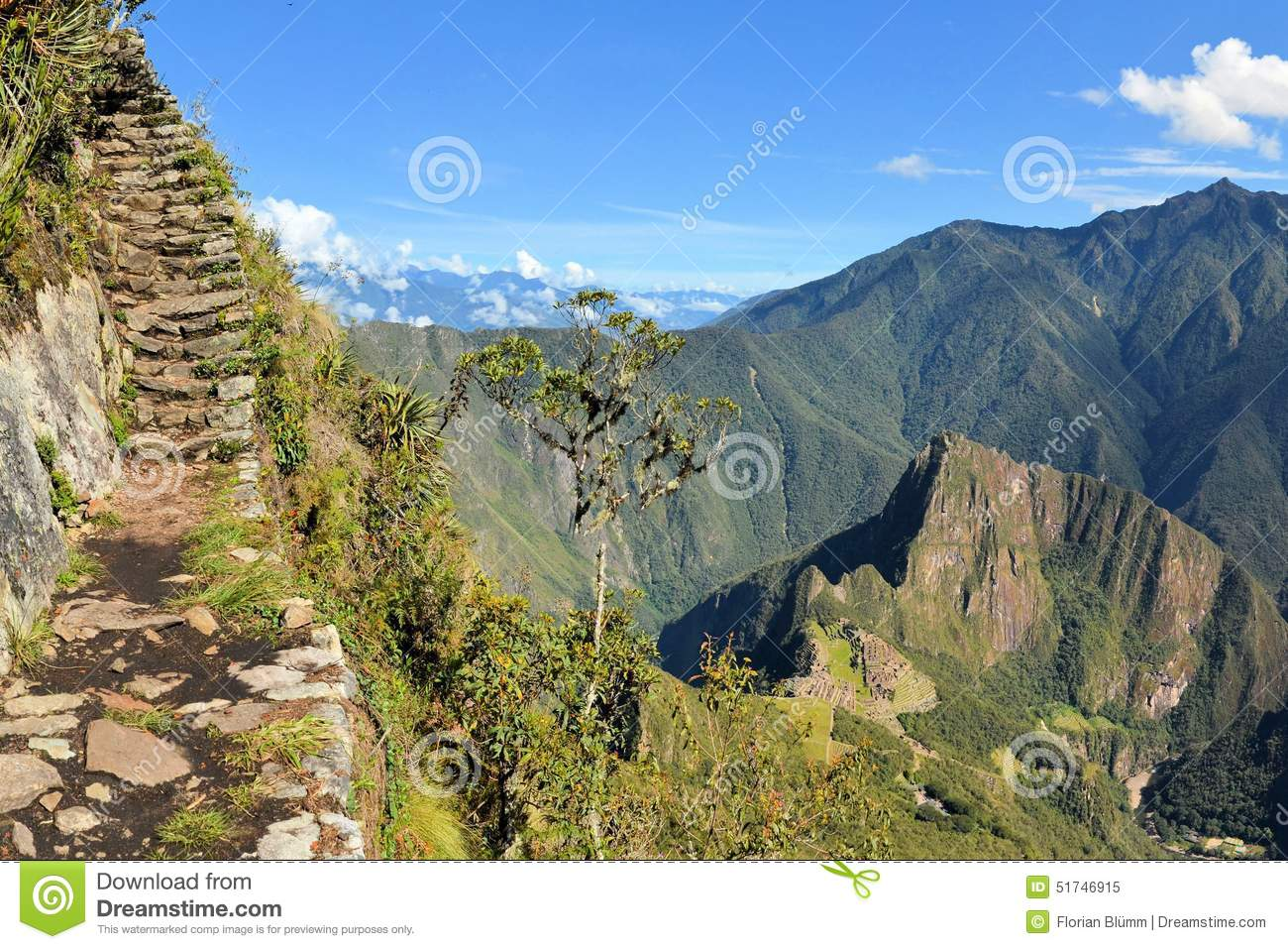 Stairs Of Trail With Machu Picchu Far Below In The Stock